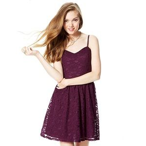 dELiA*s Plum Lace Spaghetti Strap Dress